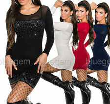 Sexy Women's Jumper Long Length Knitted Bodycon Mini Dress Size 8 10 12
