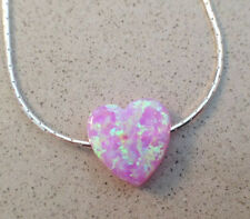 Heart opal necklace, light pink opal pendant sterling silver chain Valentine Day