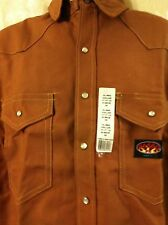 Rasco FR  Brown Duck Flame Resistant Snap Work Shirt  NWT