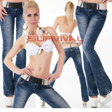 Womens Jeans Bootcut Blue Acid Wash Low Rise Hipster Free Belt Size 6 8 10 12 14