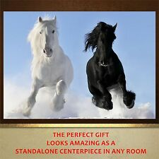 Black and White Horses Galloping poster print wall art  wall decor