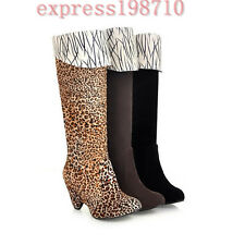 Retro Womens Ladies Knee High Boots Slouch High Heels Winter Knee High Shoes Hot