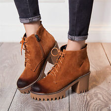 Womens Lace Up Round Toe Ankle Boots Platform High Heels Casual Shoes Creepers