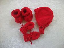 Brand New Hand Knitted Red Baby Bonnet, Mitten, Booties Set 0-3/ 3-6/ 6-9 Months