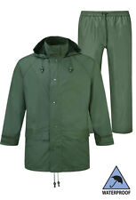 Fortress Mens Jacket Hooded Waterproof & Flex Water Proof Over Trousers Green
