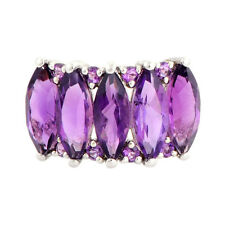 Amethyst 4.55 Carat Genuine Gemstone Ring In 10 Kt Solid White Gold Jewelry