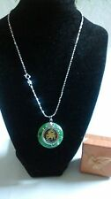 Chinese Green Jade Zodiac Lucky Animal Silver Pendant Necklace, Birthday Gift