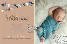 Personalised Birth/ Baby/ Thank you Announcement Printable Invitation card Boy