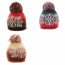 SKI WINTER HAT KNITTED BOBBLE WOOLY BEANIE SNOWFLAKE EXTRA LARGE POM POM LADIES