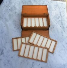 ANTIQUE MICROSCOPE SLIDE WOODEN STORAGE CASE  REMOVABLE TRAYS CAPACITY 66 SLIDES