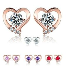 Lovely Heart Ruby Swarovski Crystal Rose Gold Filled Lady Elegant Stud Earrings