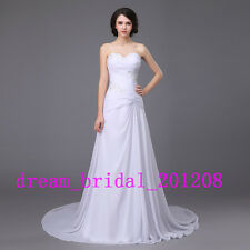 Stock White/Ivory Strapless Wedding Dress Bridal Gown Stock Size US 4 to 22