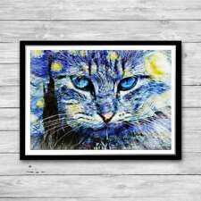 Cat and Starry Night Print, Reproduction of Vincent Van Gogh Starry Night,
