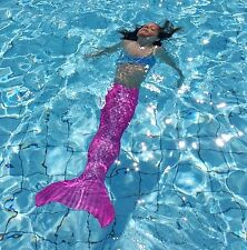 Pink Color Swimable Mermaid tail For kids Girls W Monofin