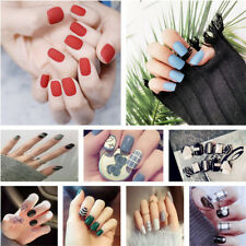 24pcs Short Fake Nails Art Tips Acrylic Nail False French Artificial Nail