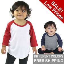 Infant Baseball Raglan Infant Tee Baby T Shirt Long Sleeve Size riblend USA Made