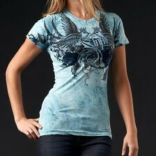 Sinful LORNE Womens T-Shirt M MED NWT NEW Top Affliction Birds Blue