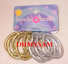 """24 NEW MULTI COLOR ELASTIC HAIR PONYTAIL HAIR TIES O'S NO METAL 3/16"""" THICK MIX"""
