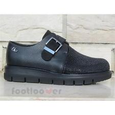 Shoes Blu Byblos 6670K6 001 Woman Leather Black Monk Strap Micro Studs Made in I