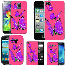 gel case cover for many mobiles - blush purple trio butterflies silicone