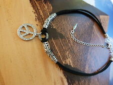 BLACK SUEDE CHOKER WITH CRYSTAL DIAMANTE PEACE PENDANT NECKLACE