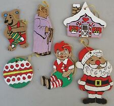 Lot of 6 Vintage Hand Painted Christmas Ornaments Wood Primitive Folk 2 sided