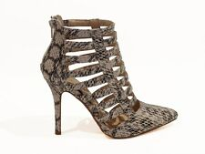 Beige Snake Print Stiletto Heel Vegan Leather Caged Pointy Toe Strappy Pumps