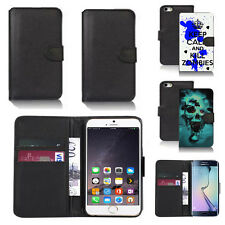 black pu leather wallet case cover for many mobiles design ref q761