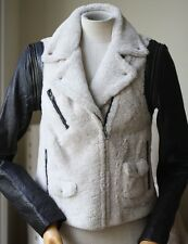 YIGAL AZROUEL DETACHABLE LEATHER SLEEVE SHEARLING JACKET US 6 UK 8