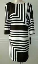 Tahari  ASL 3/4 Sleeve Geo-Print Belted Shift Dress, Black/Ivory, Size-6