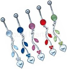 Belly Button Ring Navel Piercing Flower Pedals Heart Rhinestones Cats Eyes Stone