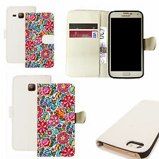 pu leather wallet case for majority Mobile phones - pink dianthus white