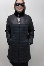 NEW WOMEN LADIES BLACK 100% GENUINE LAMB LEATHER PUFFER JACKET COAT LINED XS-6XL