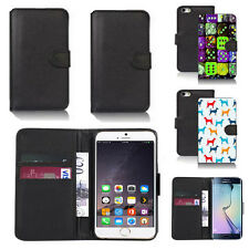 black pu leather wallet case cover for many mobiles design ref q342