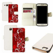 pu leather wallet case for majority Mobile phones - blushing floral white