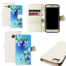 pu leather wallet case for majority Mobile phones - blue floral gathering white