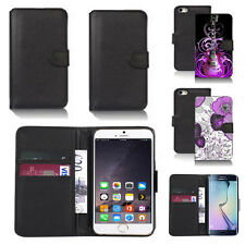 black pu leather wallet case cover for apple iphone models design ref q438