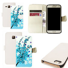 pu leather wallet case for majority Mobile phones - blue floral bee white