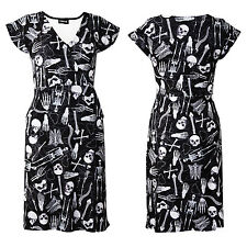 Gothic Skeletons Skulls Bones Ribcage Heart Anatomy Print Wrap Pockets Dress