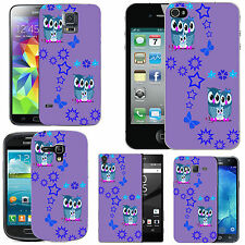 gel case cover for many mobiles - violet aqua family owl stars silicone