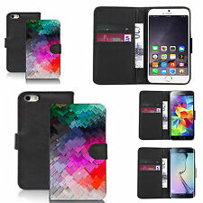 pu leather wallet case for many Mobile phones - colourful slate pattern