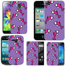 gel case cover for many mobiles - violet multi fish silicone