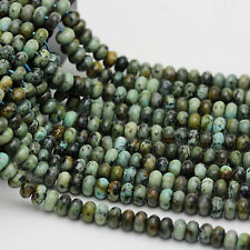 Africa Turquoise Smooth Gemstone Rondelle Loose Beads 15.5 '' per Strand