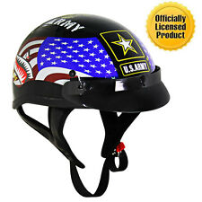 Outlaw Black Glossy Motorcycle Half Helmet with Officially Licensed U.S. Army
