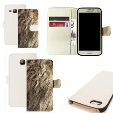 pu leather wallet case for majority Mobile phones - traditional animal fur white