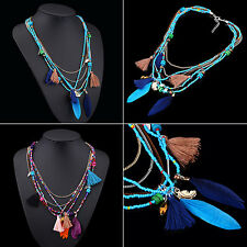 Women Boho Ethnic Style Feathers Tassels Beads Multi-layer Chain Necklace Exotic