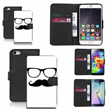 pu leather wallet case for many Mobile phones - moustache sunglasses