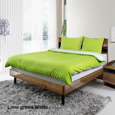 WHITE/LIME GREEN REVERSIBLE DUVET COVER BED SET/FITTED SHEET SINGLE DOUBLE KING