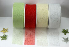 20m Roll Festive Christmas Organza Glitter Ribbon 38mm Great for Wrapping & Bows