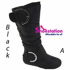 Women Comfy Slouch Boots Buckle Round Toe Casual Dress Fashion Winter Suede Shoe